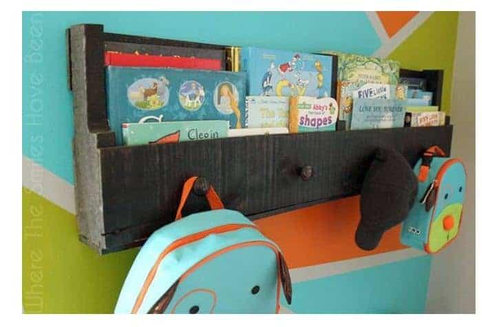 kids storage shelf made from pallets