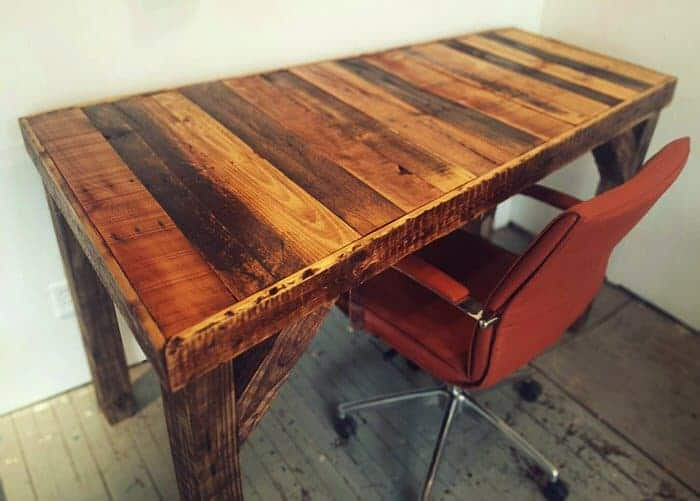 stained wood desk made with pallet