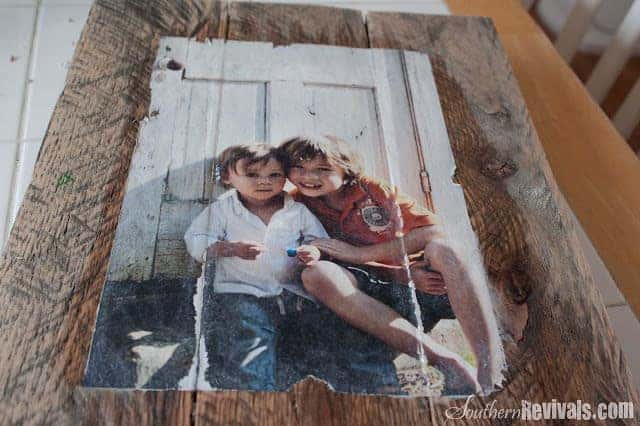 primitive wood photo frame from pallet