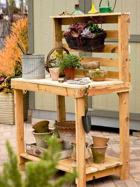 gardening shelf made from pallets