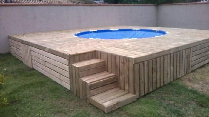 pool deck made from pallets