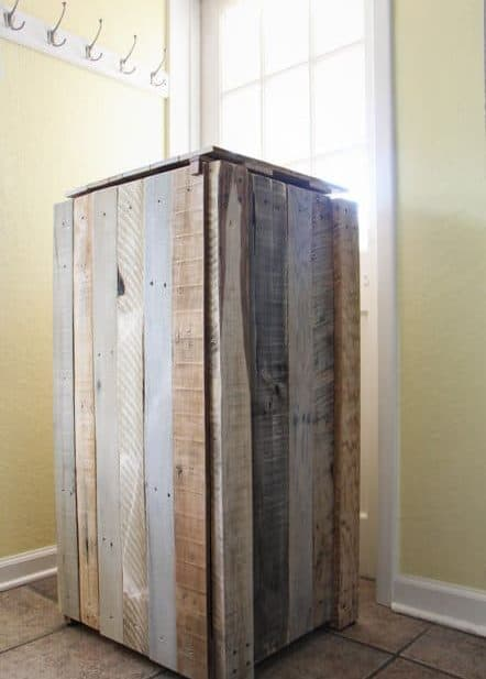 trash can bin made with wood pallet