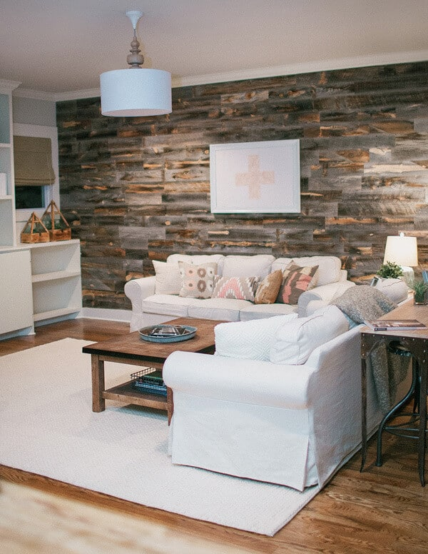 covering a wall with pallets is an affordable update