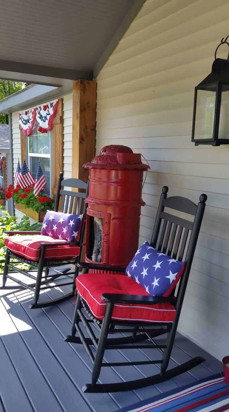 Patriotic Front Porch On Manufactured Home