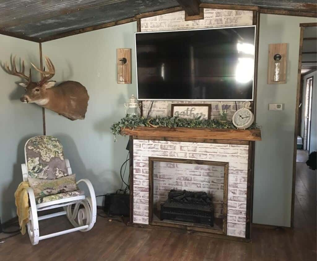 Primitive Country Fireplace And Tv