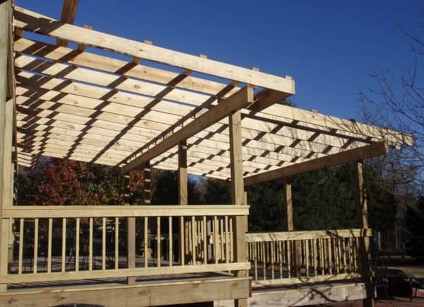 rafters over decks on self-supporting mobile home roof over