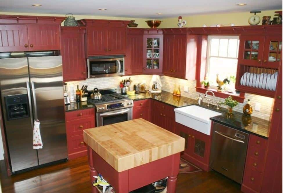 red kitchen cabinets farmhouse look
