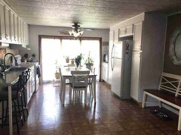remodel a single wide mobile home- before new flooring in kitchen