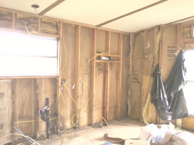 Removing wallboard from kitchen in mobile home2