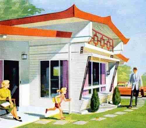 Retro Mobile Home Illustration Orange And White