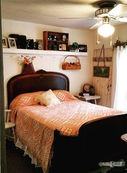 Shabby chic bedroom in mobile home