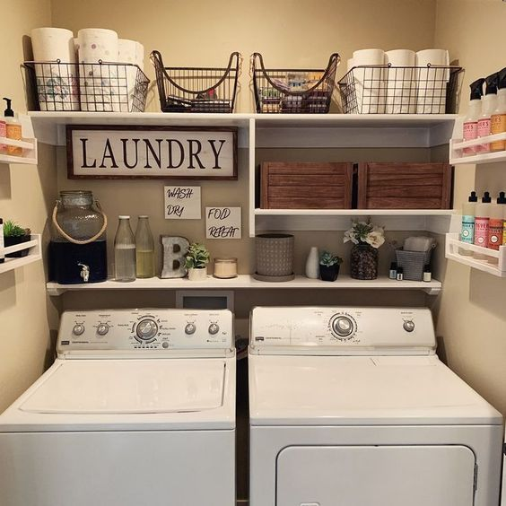 Shelving and baskets for laundry room