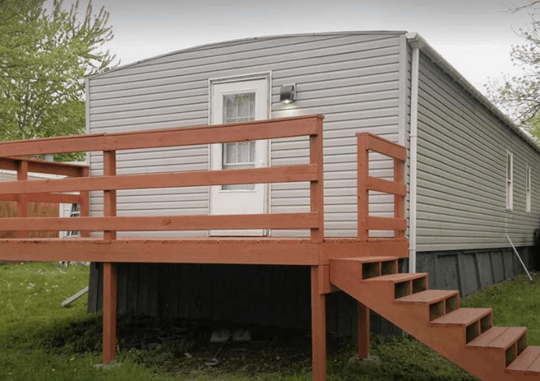 Simple Deck On End Of Single Wide Mobile Home