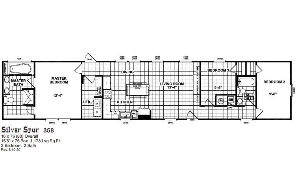 Single wide manufactured homes silver spur floor plan