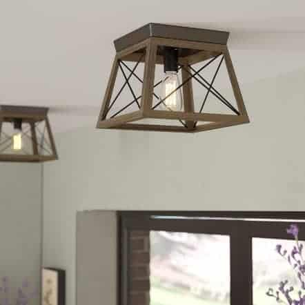 square metal and wood ceiling light