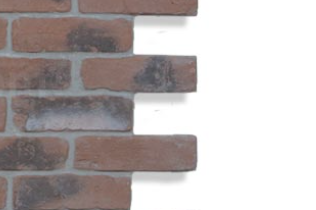 Staggered cut of faux brick panel