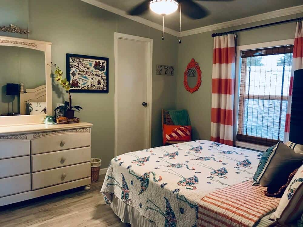 Stylish Guest Bedroom In 1988 Mobile Home