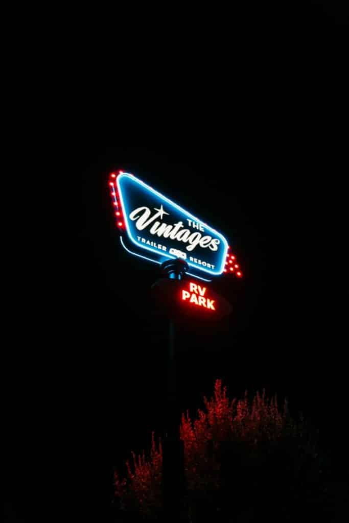 The vintages resort sign