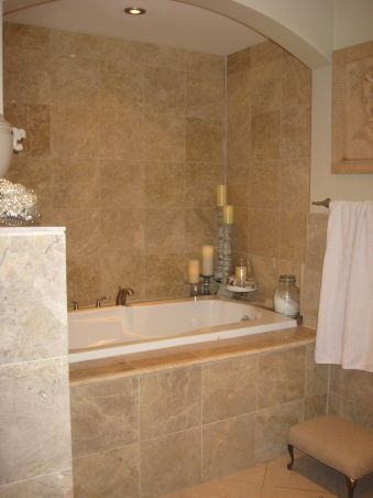 tiled tub in luxury bathroom remodel in manufactured home