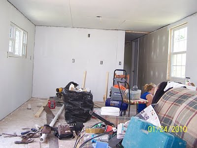 total mobile home transformation - new sheetrock