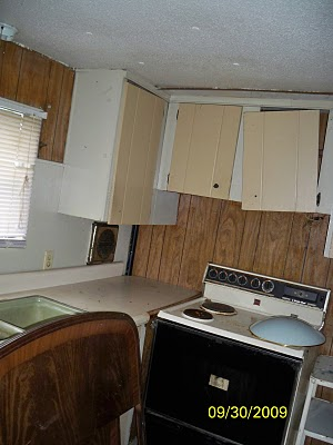 total mobile home transformation - the kitchen before