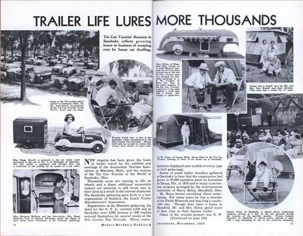 Trailer life lures millions in 1936 1936 travel trailers