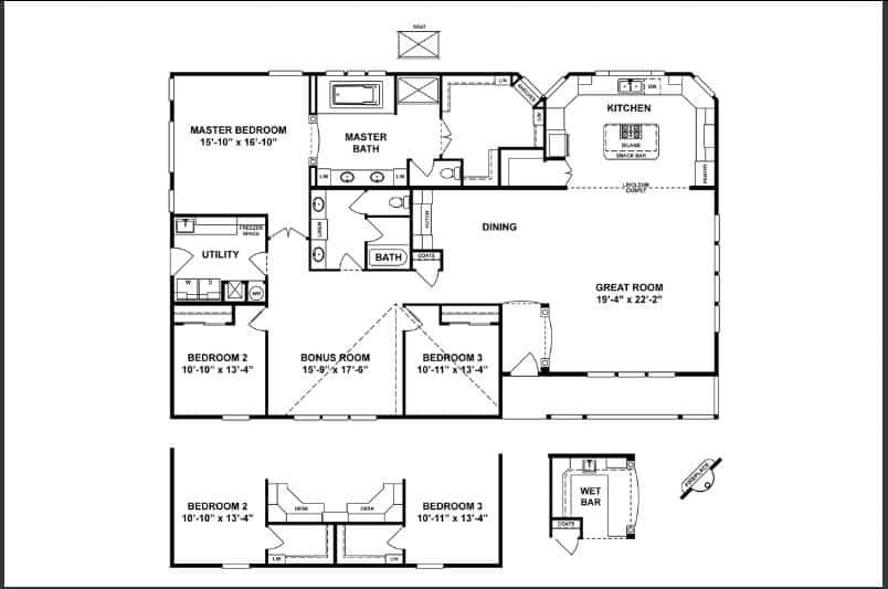 Triple wide floor plan
