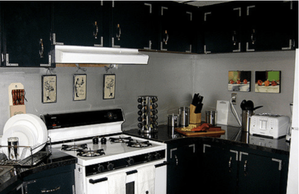 black and white kitchen in mobile home