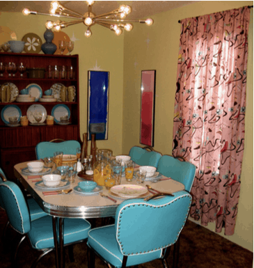 mid-century mod dining room in mobile home