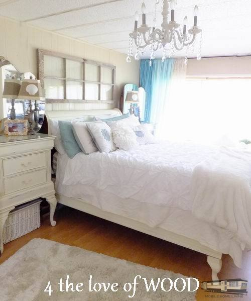 Use old window as headboard update your mobile home bedroom