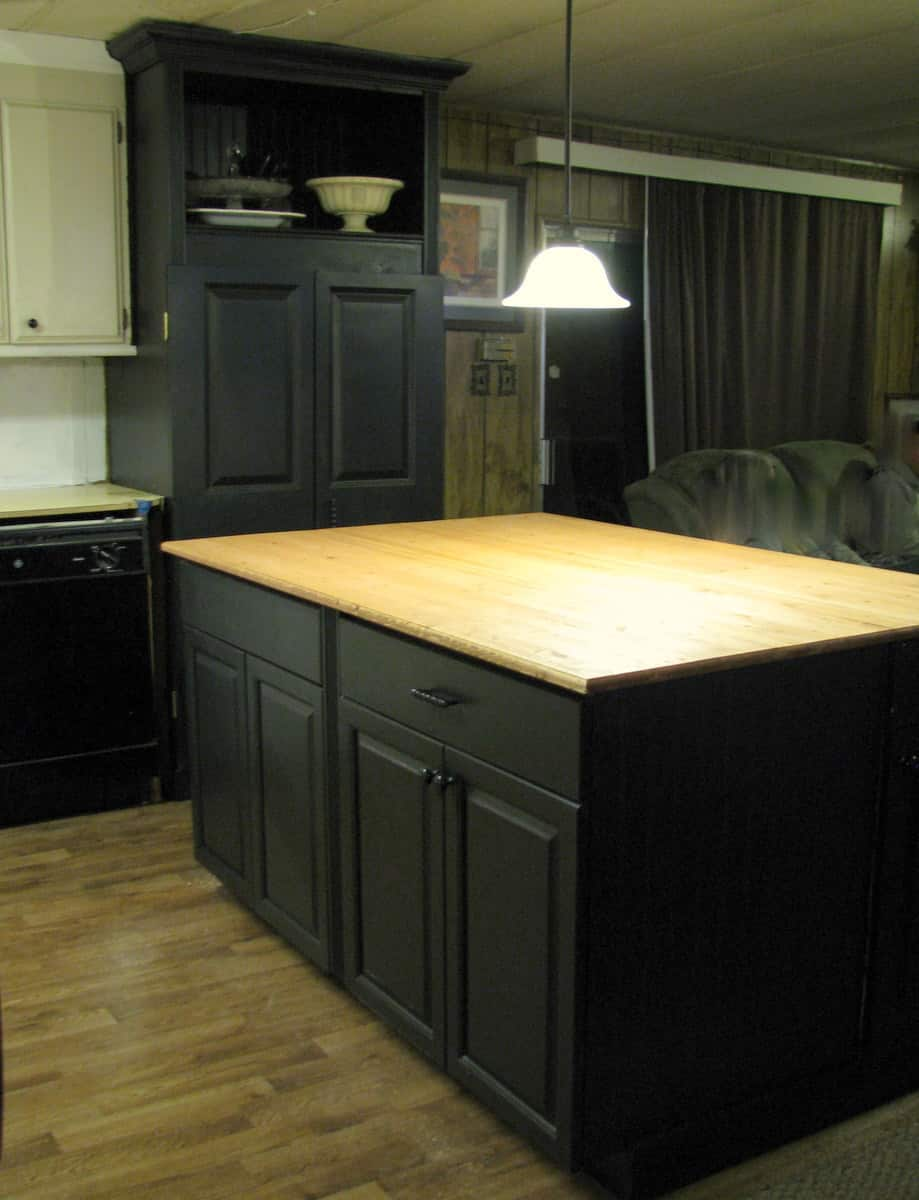using free cabinets to make kitchen island in mobile home