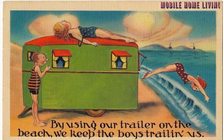 Using our trailer on the beach postcard 1