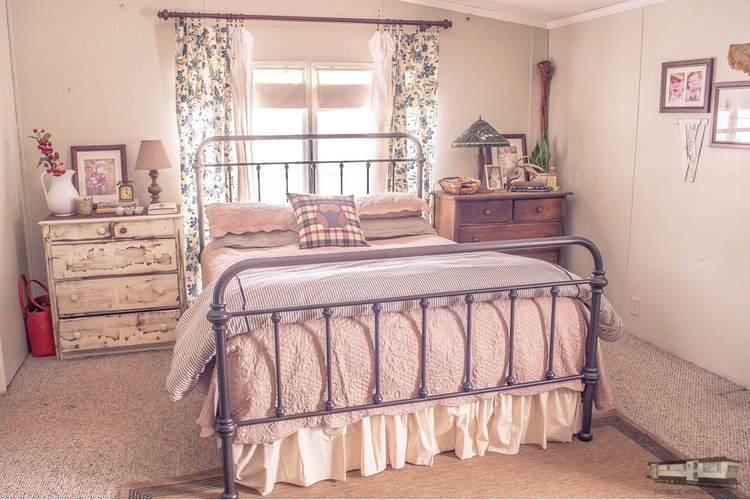 Vintage inspired bedroom in double wide