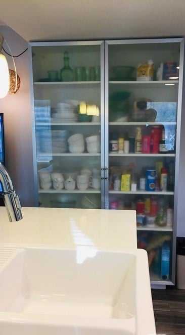 Vintage mobile home frosted storage