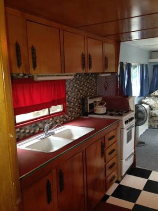 Vintage trailer homes ventoura loft liner land yacht kitchen