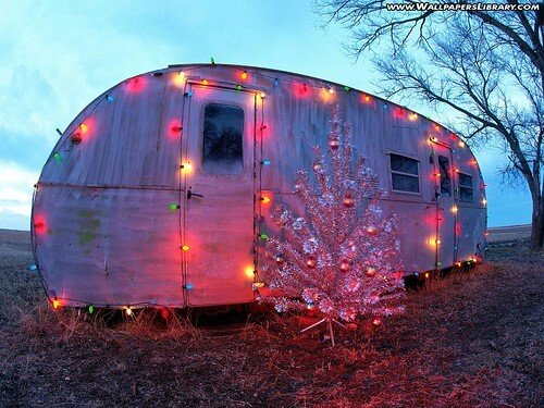 Vintage Trailer With Christmas Lights