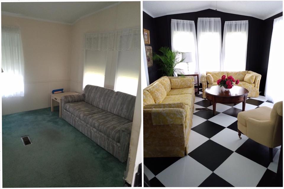 Wendy w living room before and after