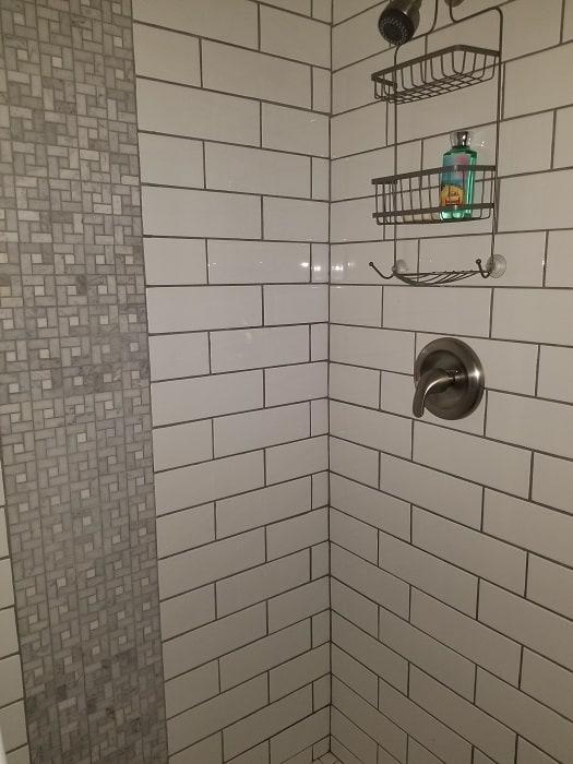White Subway Tile In Mobile Home Bathroom