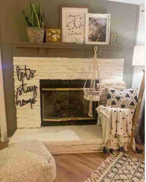 Whitewashed fireplace