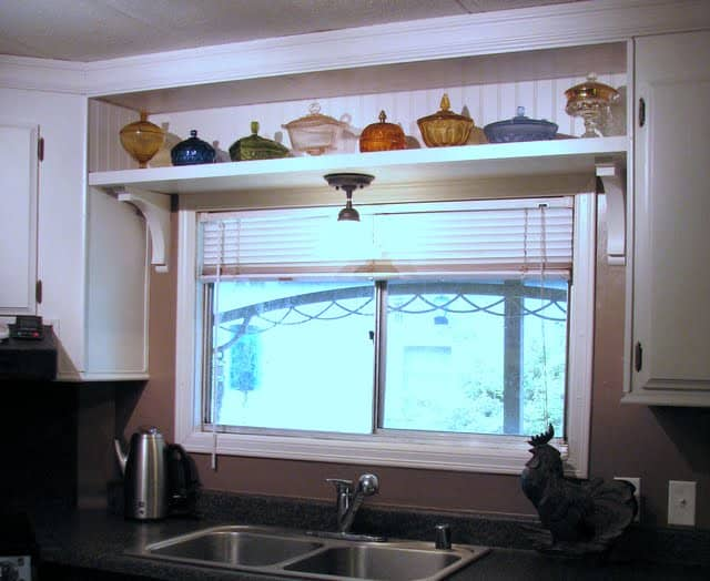 Window shelf in mobile home kitchen after budget makeover