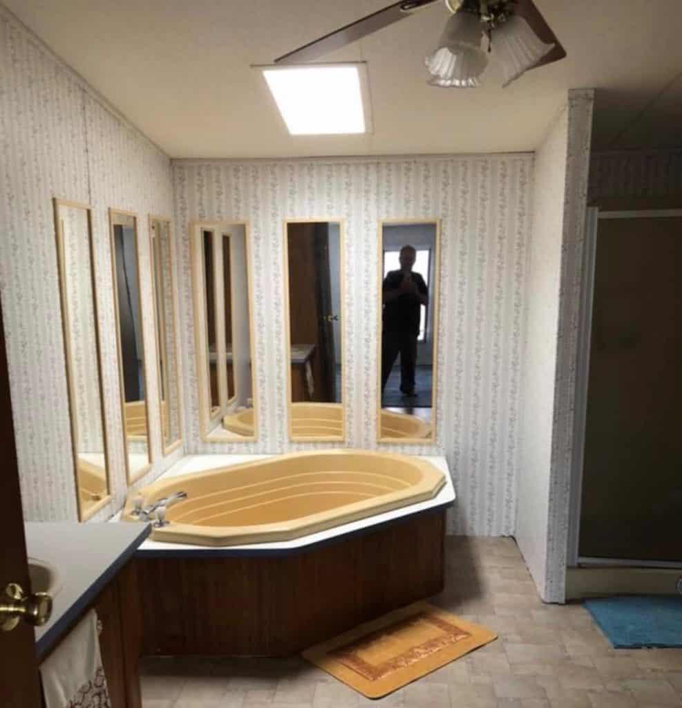 Yellow Mobile Home Bathtub