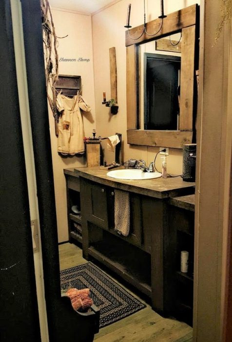 primitive decor in a mobile home r-bathroom 2
