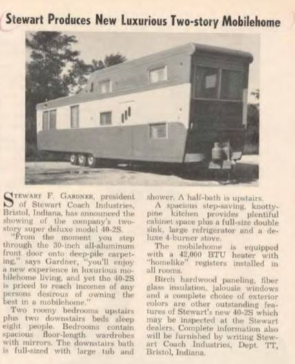 Stewart's 2 story mobile home ad