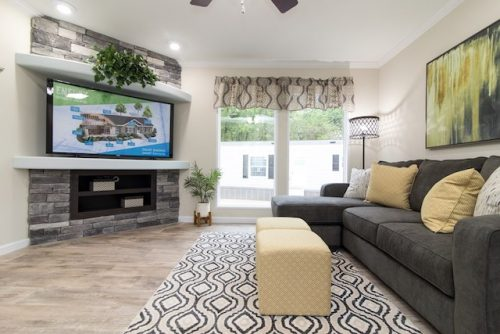 3 levels of manufactured homes - Norris CEO model is a high end example - family room