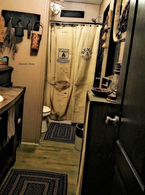 primitive decor in a mobile home -bathroom 1