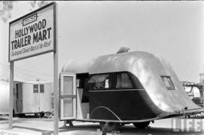 1930's travel trailer sales lot
