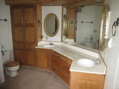 1988 Skyline Double Wide - Complete remodel - Manufactured Home Interior Design - Master Bathroom Before Remodel 2