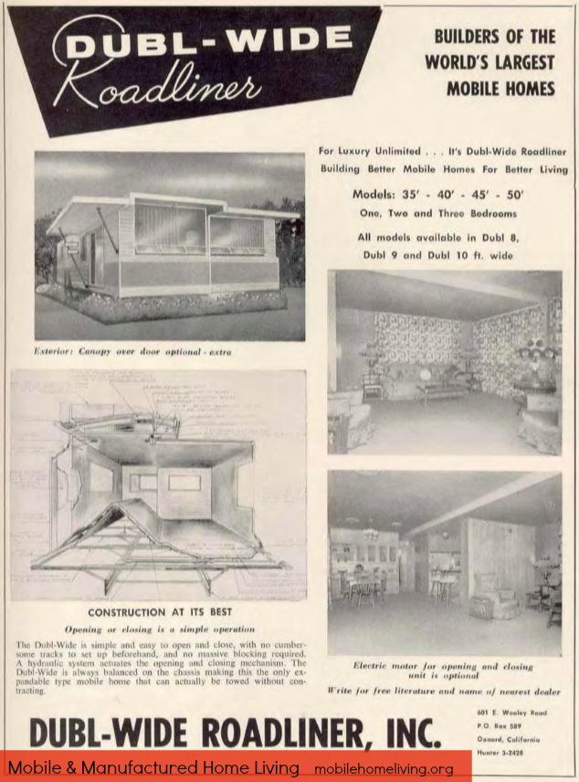 Vintage mobile homes-61 dubl wide roadliner