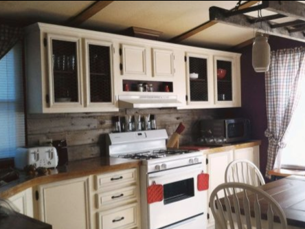 7 affordable ways to update mobile home kitchen cabinets - primitive style with chicken wire on cabinets