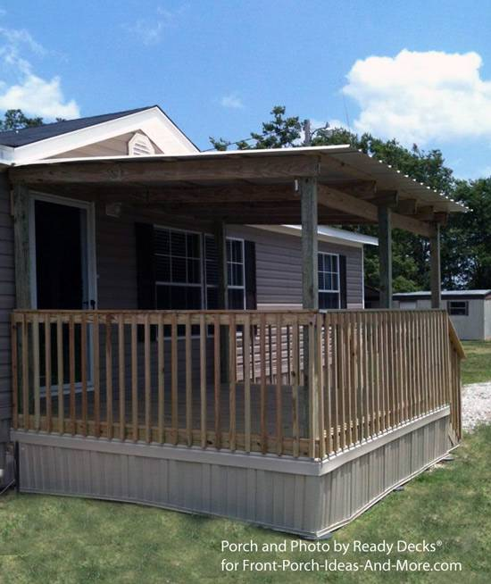 45 great manufactured home porch designs mobile home living for Wooden porches for mobile homes